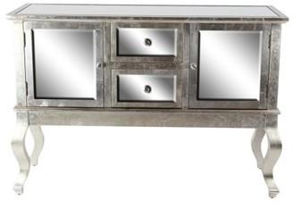 DecMode Decmode Modern Rectangular Mirror-Paneled Wooden Side Board, Gray