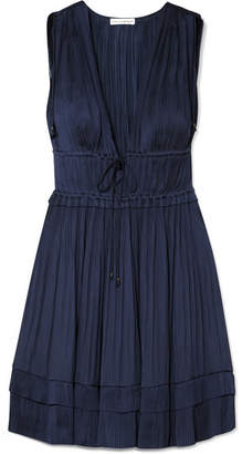 Ulla Johnson Giselle Plissé-satin Mini Dress - Midnight blue