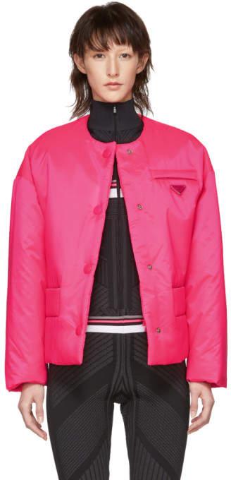 Pink Collarless Puffer Jacket