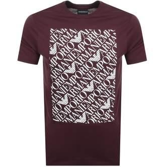 Giorgio Armani Emporio Crew Neck Logo T Shirt Burgundy