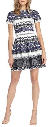 Monique Lhuillier Embroidered Chiffon Dress