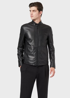 Emporio Armani Semi-Aniline Nappa Leather Jacket With A Soft Feel