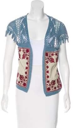 Dries Van Noten Crochet Open Front Cardigan
