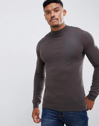 Asos DESIGN muscle fit turtleneck sweater in brown