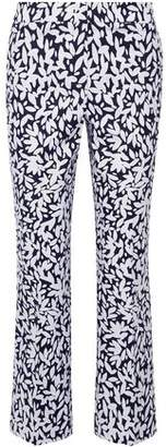 Oscar de la Renta Cropped Printed Stretch-Canvas Straight-Leg Pants