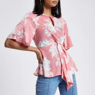 River Island Womens Pink floral print tie front frill hem blouse