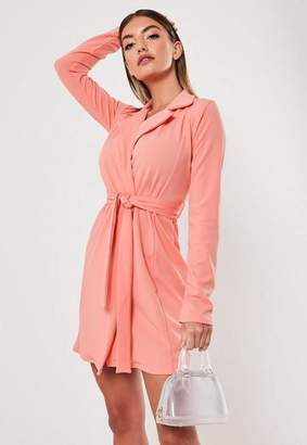 Missguided Peach Long Sleeve Fitted Jersey Belted Wrap Dress, Peach