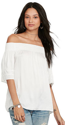 Ralph Lauren Denim & Supply Satin Off-the-Shoulder Top $79.50 thestylecure.com