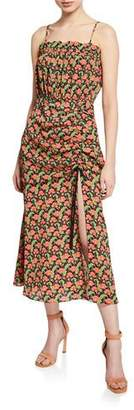 Elliatt Regal Floral-Print Shirred Sleeveless Dress with Slit