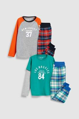 Next Boys Orange/Green Slogan Check Woven Pyjamas Two Pack (3-16yrs)