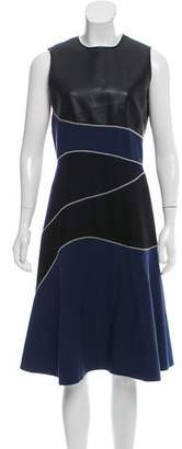 Cédric Charlier Vegan Leather-Accented Midi Dress