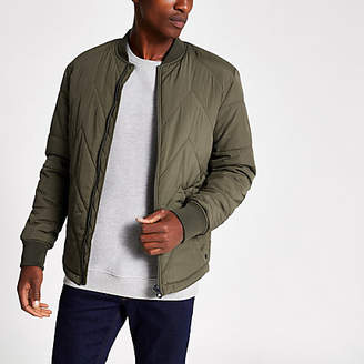 Jack and Jones green quilted bomber jacket