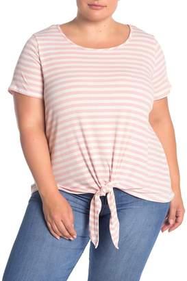 Como Vintage Ribbed Stripe Tie Hem T-Shirt