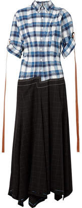 Loewe Asymmetric Checked Cotton, Wool And Mohair-blend Dress - Black