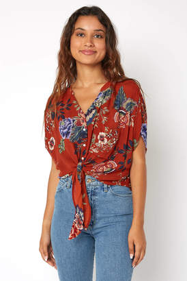 Patrons Of Peace Rust Floral Tie Front Top