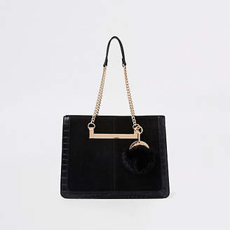 River Island Black chain handle pom pom tote bag