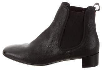Frances Valentine Leather Square-Toe Ankle Boots