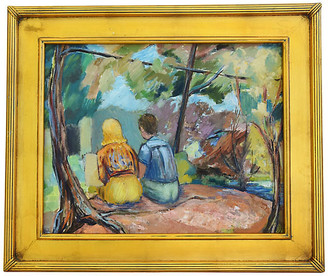 One Kings Lane Vintage Relaxing Summer Under The Trees Painting Art