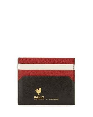 Bally Nalbyn Colorblock Leather Card Case, Black