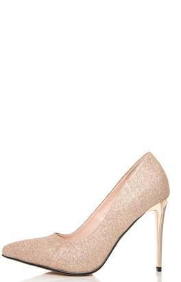 Quiz Champagne Glitter Pointed Court Shoes