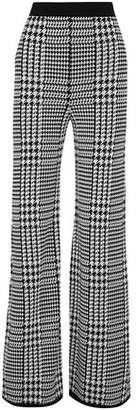 Balmain Houndstooth Jacquard-Knit Wide-Leg Pants