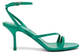 Prada Ankle Strap Patent Leather Heeled Sandals - Womens - Green
