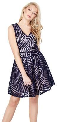 Yumi London - Navy Stripe Mesh 'Anaaya' Skater Dress