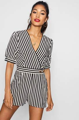 9e7c6863847 boohoo Kitty Wrap Striped Playsuit With Puff Sleeve