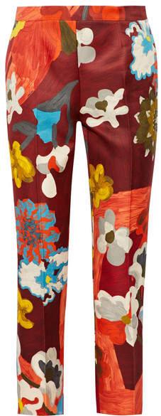 Prada - Printed Wool And Silk-blend Straight-leg Pants - Merlot