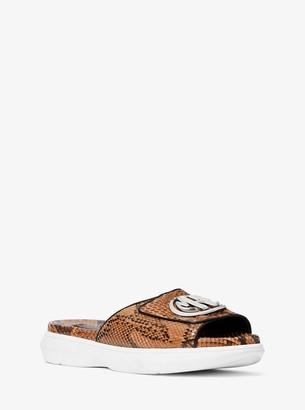 Michael Kors Jennifer Python and Nappa Leather Slide Sandal