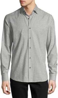 Neiman Marcus Gingham Long-Sleeve Sport Shirt, Ivory/Gray
