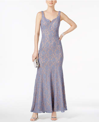 Betsy & Adam Petite Glitter Lace Gown