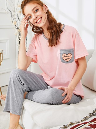 Shein Pocket Patched Tee & Pants PJ Set