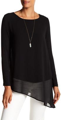 Joan Vass Long Sleeve Asymmetrical Knit Blouse $58 thestylecure.com