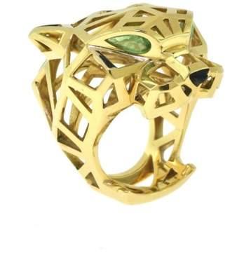 Panthère de 18K Yellow Gold with Tsavorite Garnet & Black Onyx Ring Size 8