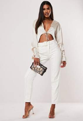 Missguided Petite White High Waisted Belted Front Seam Jeans