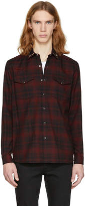 Valentino Red and Black Rockstud Check Shirt