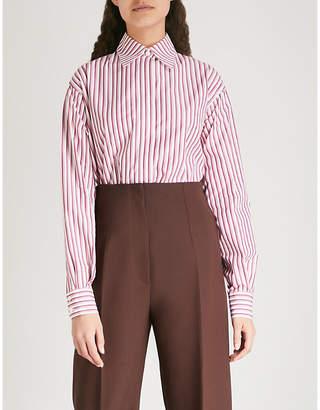 Victoria Beckham Initial-embroidered striped cotton-poplin shirt