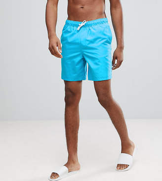 Asos DESIGN TALL Swim Shorts In Bright Blue Mid Length