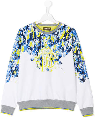Roberto Cavalli painterly print sweater
