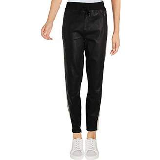 Pam & Gela Women's Stretch Leather Pants with Side Stripes