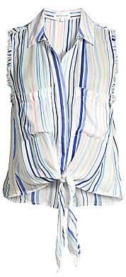 Bella Dahl Women's Striped Sleeveless Frayed Tie-Up Blouse