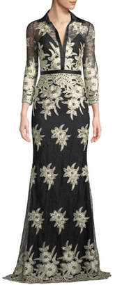 Badgley Mischka Collared Floral Lace Shirt Dress