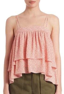 Steph Abstract-Print Two-Tiered Ruffled Cami