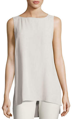 Eileen Fisher Bateau-Neck Silk Georgette Crepe Shell