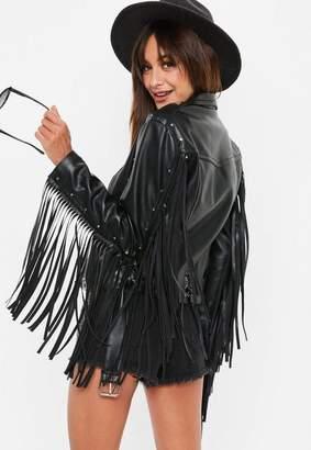 Missguided Black Fringe Western Biker Jacket