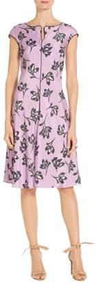 St. John Falling Flower Print Fit & Flare Dress
