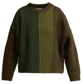 Acne Studios Patchwork Wool Sweater - Womens - Khaki