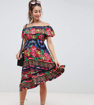Asos DESIGN Maternity off shoulder midi sundress in spliced floral