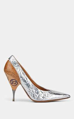 Maison Margiela Women's Foil & Wood Pumps - Silver
